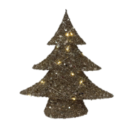 40CMH CHAMPAGE GOLD COTTON  TREE WITH LIGHTS