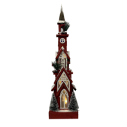 63CMH RED WOODEN BIRDHOUSE WITH LIGHT