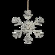 35CMD WHITE WOODEN SNOWFLAKE HANGING