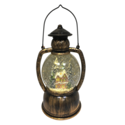 HOUSE SNOWGLOBE IN AGED GOLD LANTERN