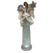 TALL WHITE SILVER ANGEL SNOWGLOBE