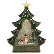 SNOWMAN IN TREE SHAPE SNOWGLOBE
