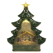 NATIVITY IN TREE SHAPE SNOWGLOBE