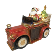RUSTIC CERAMIC SANTA IN CAR LED