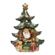 RUSTIC CERAMIC SANTA IN TREE WINDOW