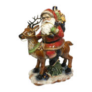 RUSTIC CERAMIC SANTA RIDING DEER