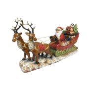 RUSTIC CERAMIC SANTA ON SLEIGH WITH 2 DEER