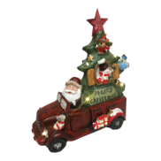 RESIN SANTA DRIVING CAR AND TREE