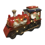 RUSTIC CERAMIC SANTA IN TRAIN LED
