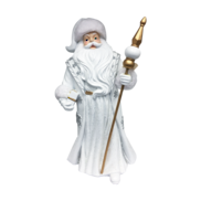 LARGE RESIN WHITE SILVER SANTA