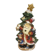 RUSTIC CERAMIC SANTA BY TREE LED