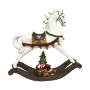 WHITE RESIN ROCKING HORSE