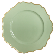 CHARGER PLATE- SAGE/GOLD FRILL