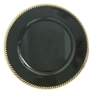 CHARGER PLATE - BLACK/GOLD ROPE