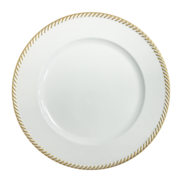 CHARGER PLATE - WHITE/GOLD ROPE