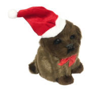 CHOCOLATE DOG WITH SANTA HAT