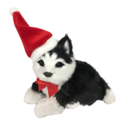 BLACK/WHITE HUSKY WITH SANTA HAT