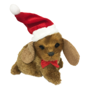 BEIGE DOG WITH BIG EARS W SANTA HAT