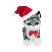 GREY/BLACK STRIPED CAT WITH SANTA HAT