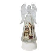 NATIVITY IN SILVER AND ACRYLIC ANGEL SNOWGLOBE
