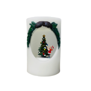CHILD DECORATING TREE IN ROUND WAX CANDLE