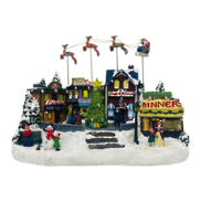 MOVEMENT VILLAGE WITH FLYING SANTA SLEIGH