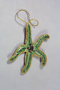 HAND EMBROIDERED GREEN STARFISH  (2)