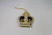 HAND EMROIDERED BLUE CROWN WITH GOLD (4)