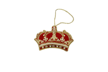 HAND EMROIDERED RED, GOLD, WHITE CROWN (12)