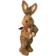 NATURAL STRAW BUNNY COLLECTING WOOD