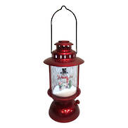 METALLIC RED SNOWING BARN LANTERN