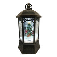 AGED BLACK SNOWING CLASSICAL LANTERN