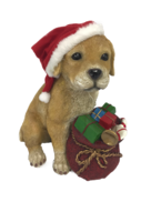22CMH RESIN GOLDEN LAB IN SANTA HAT