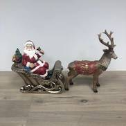 RESIN SANTA IN SLEIGH W DEER (2 PIECES)