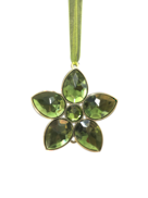 GREEN /GOLD JEWELED FLOWER (12)