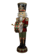 WHITE BEARDED DRUMMING NUTCRACKER WITH LED AND MUSIC