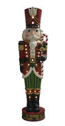183CMH WHITE BEARDED NUTCRACKER HOLDING CANE, LED AND MUSIC