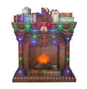LIT FIREPLACE WITH PRESENTS LED