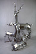 SET 3 LARGE SILVER CUBIC DEER