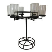METAL ROUND 6 CANDLE HOLDER ON STAND WITH GLASS