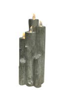 45CMH GREY RESIN LED CANDLE BLOCK