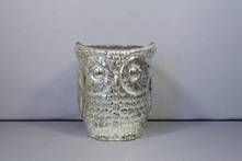MEDIUM SILVER GLASS OWL TEALIGHT (4)
