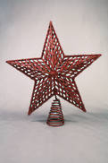 RED LASER CUT STAR TREE TOPPER IN PVC BOX
