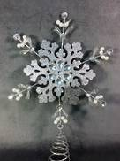 SILVER GLITTER SNOWFLAKE WITH SILVER GEM TREE TOPPER