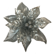 SILVER METALLIC POINSETTIA WITH CLIP (12)