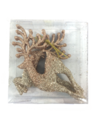 SET3, ROSE GOLD GLITTERED LEAPING REINDEER HANGERS (4)
