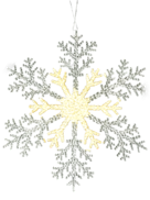 30CMD CLEAR/GOLD ACRYLIC SNOWFLAKE (12)