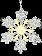 30CMD CLEAR/GOLD ACRYLIC SNOWFLAKE (12)