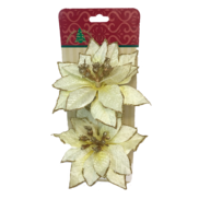 SET2 CREAM/GOLD POINSETTIA ON CLIP (6)