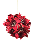 10CM BURGANDY W VELVET POINSETTIA HANGING BALL (6)